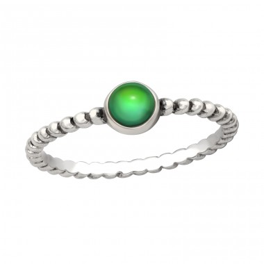 Oxidized Deep green - 925 Sterling Silver Basic Rings A4S41644