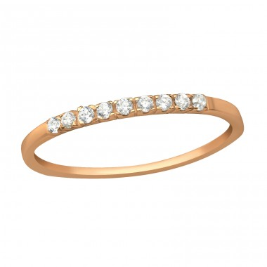 Rosegold Line of Zirconias - 925 Sterling Silver Rings With Zirconia Stones A4S41652