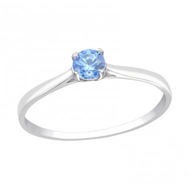 Solitaire with Blue Zirconia - 925 Sterling Silver Rings With Zirconia Stones A4S41653