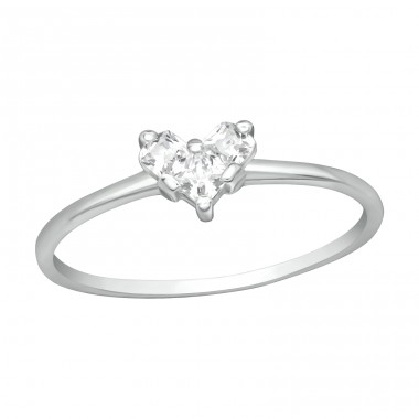Heart shaped Zirconia - 925 Sterling Silver Rings With Zirconia Stones A4S41716