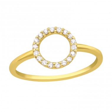 Golden open Circle with zirconias - 925 Sterling Silver Rings With Zirconia Stones A4S41718