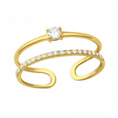 Golden Open Double Line adjustable - 925 Sterling Silver Rings With Zirconia Stones A4S41723