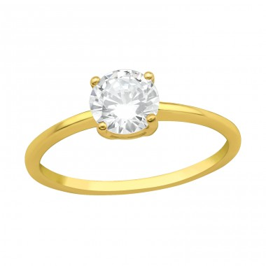 Golden Solitaire with big zirconia - 925 Sterling Silver Rings With Zirconia Stones A4S41726