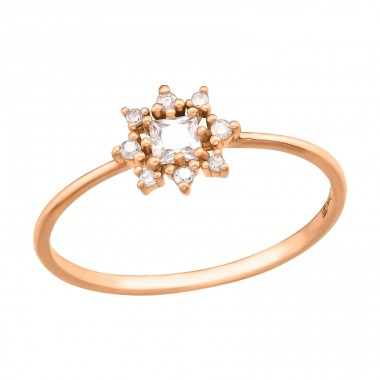 Rosegold sparkling star - 925 Sterling Silver Rings With Zirconia Stones A4S41729
