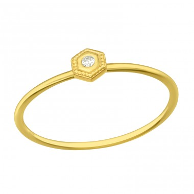 Golden Hexagon - 925 Sterling Silver Rings With Zirconia Stones A4S42606