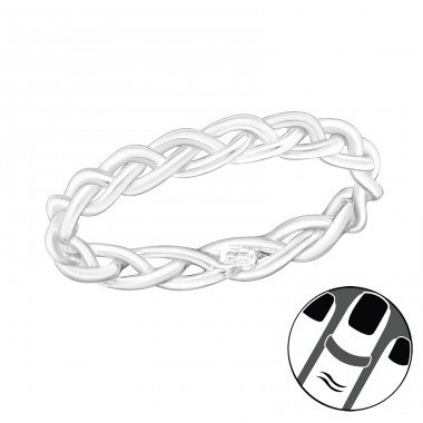 Braided - 925 Sterling Silver Midi Rings A4S19933