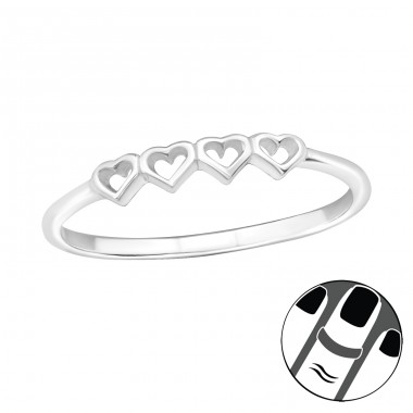 Hearts - 925 Sterling Silver Midi Rings A4S19936