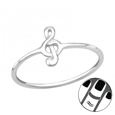 Treble Clef - 925 Sterling Silver Midi Rings A4S19938