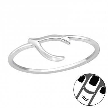 Wishbone - 925 Sterling Silver Midi Rings A4S19944