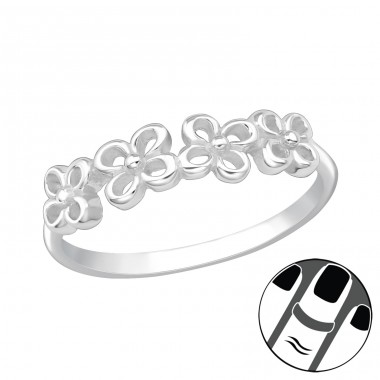 Flowers - 925 Sterling Silver Midi Rings A4S20207