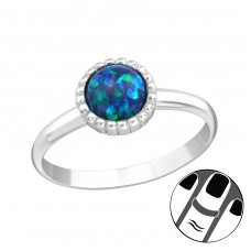Round Opal - 925 Sterling Silver Midi Rings A4S23588