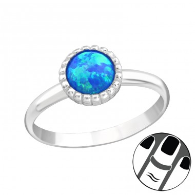 Round Opal - 925 Sterling Silver Midi Rings A4S23593