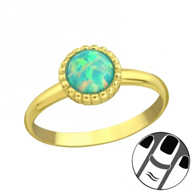 Round Opal - 925 Sterling Silver Midi Rings A4S23598
