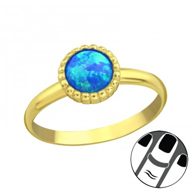 Round Opal - 925 Sterling Silver Midi Rings A4S23601