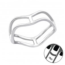 Wave - 925 Sterling Silver Midi Rings A4S23791