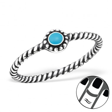 Round - 925 Sterling Silver Midi Rings A4S23804