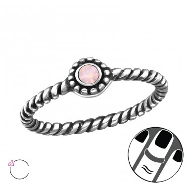 Round - 925 Sterling Silver Midi Rings A4S24655
