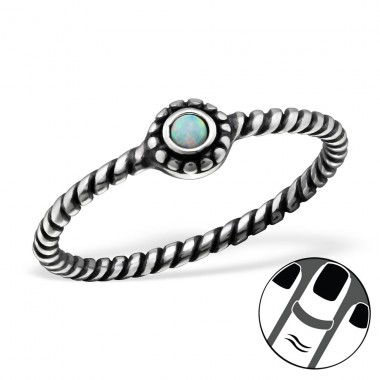Round Opal - 925 Sterling Silver Midi Rings A4S27720