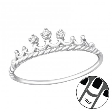 Crown - 925 Sterling Silver Midi Rings A4S28619