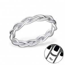 Braided - 925 Sterling Silver Midi Rings A4S30404