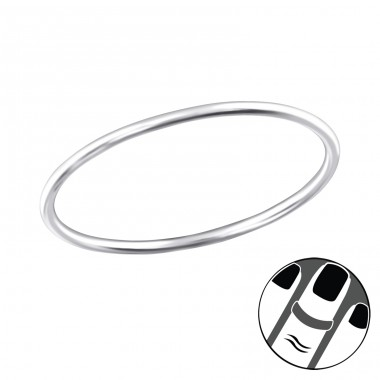 0.8Mm Band - 925 Sterling Silver Midi Rings A4S32483