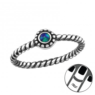 Oxidized Opal - 925 Sterling Silver Midi Rings A4S33320