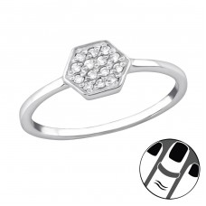 Hexagon - 925 Sterling Silver Midi Rings A4S34026