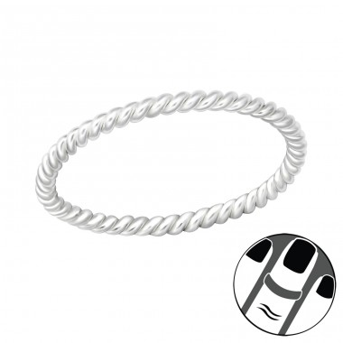 Rope - 925 Sterling Silver Midi Rings A4S36147