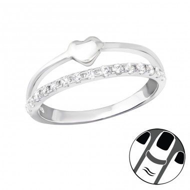Heart - 925 Sterling Silver Midi Rings A4S36516