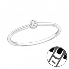 Round - 925 Sterling Silver Midi Rings A4S37102