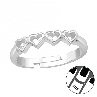 Heart Link - 925 Sterling Silver Midi Rings A4S39658