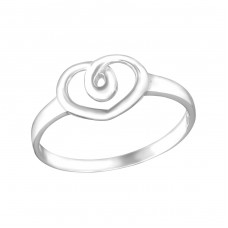 Heart Twirl - 925 Sterling Silver Basic Rings A4S15381