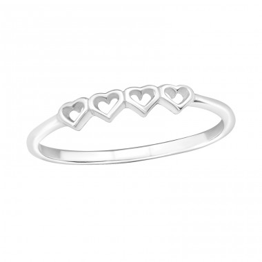 Chained Hearts - 925 Sterling Silver Basic Rings A4S18904