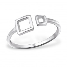 Open Square - 925 Sterling Silver Basic Rings A4S30393