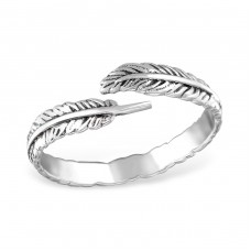 Open Leaf - 925 Sterling Silver Basic Rings A4S31414