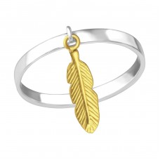 Hanging Feather - 925 Sterling Silver Basic Rings A4S33833