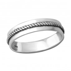 Rope - 925 Sterling Silver Basic Rings A4S36387