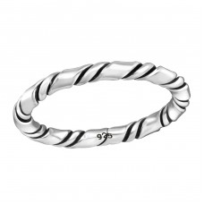 Rope - 925 Sterling Silver Basic Rings A4S37946