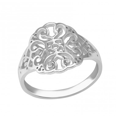 Patterned - 925 Sterling Silver Basic Rings A4S37988