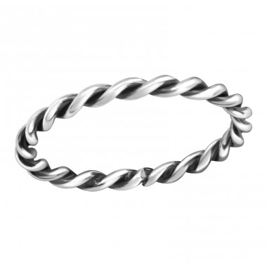 Rope - 925 Sterling Silver Basic Rings A4S38311