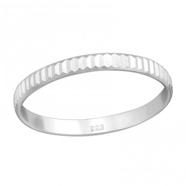 Pattened - 925 Sterling Silver Basic Rings A4S38362