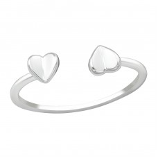 Open Heart - 925 Sterling Silver Basic Rings A4S38412