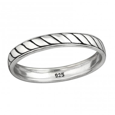 Rope - 925 Sterling Silver Basic Rings A4S38481