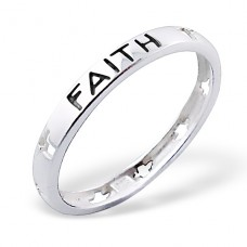 Faith Lettering - 925 Sterling Silver Basic Rings A4S3857