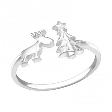 Reindeer & Christmas Tree - 925 Sterling Silver Basic Rings A4S39099