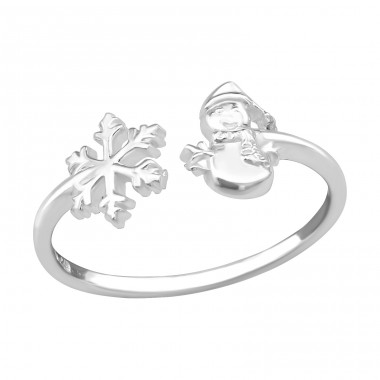 Snowflake & Snowmen - 925 Sterling Silver Basic Rings A4S39100
