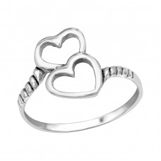 Double Heart - 925 Sterling Silver Basic Rings A4S39102