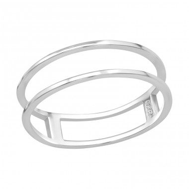 Double Line - 925 Sterling Silver Basic Rings A4S39497