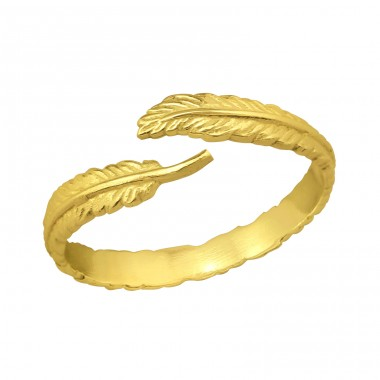 Open Feather gold plated - 925 Sterling Silver Basic Rings A4S39865