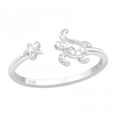 Turtle - 925 Sterling Silver Basic Rings A4S40070